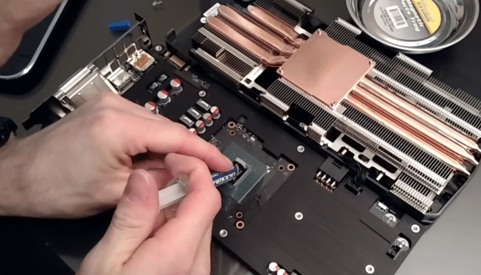 12. Apply the thermal paste on the chip.