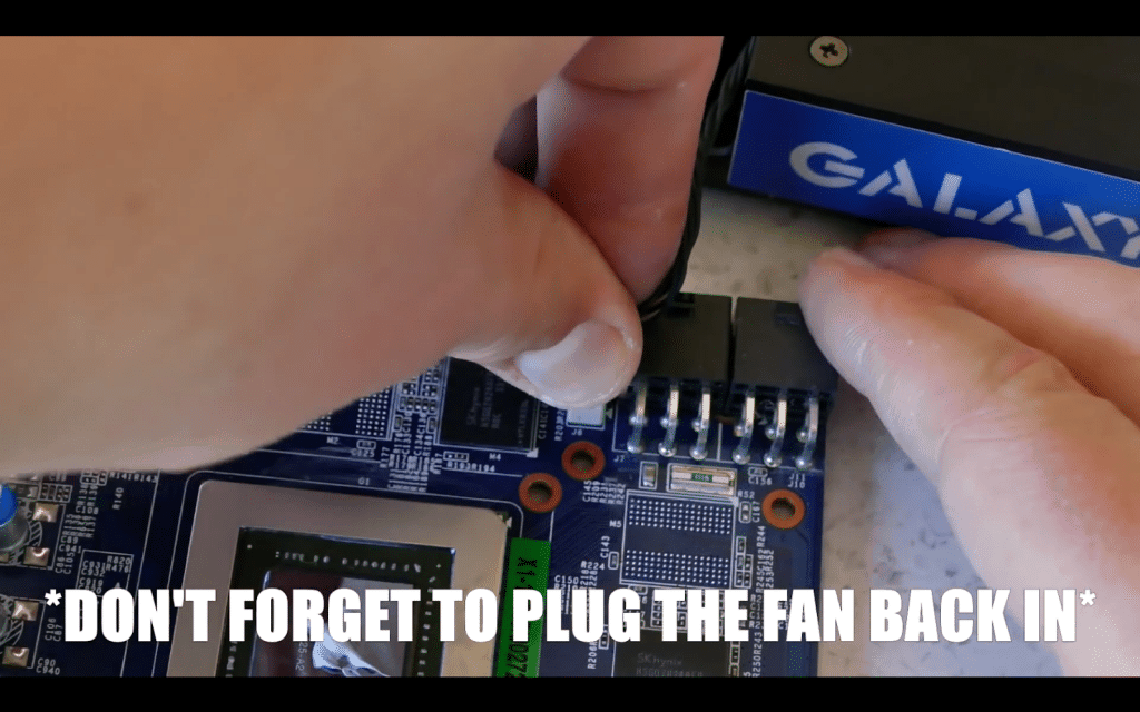 2.10 Plug the fan back to the card.