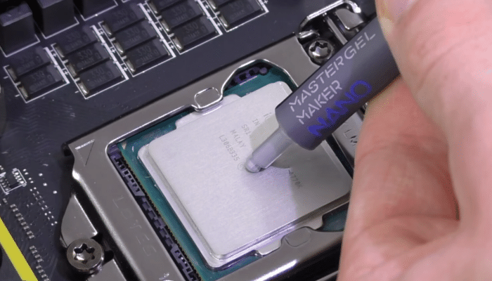 9. apply a dot of the replacement thermal paste on the CPU.