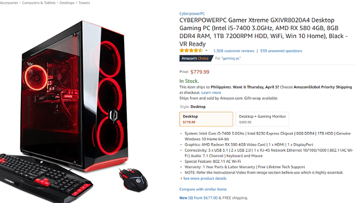 1. Amazon's $779.99 prebuilt gaming PC