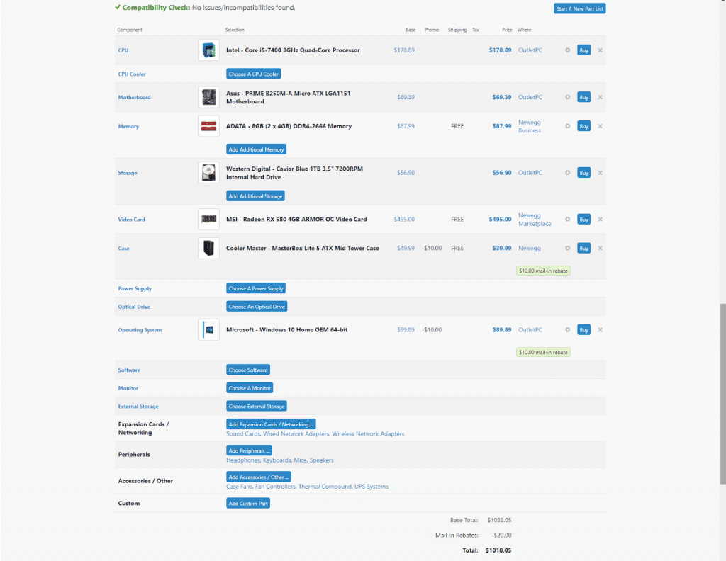 2. To start the comparison, we'll go ahead and use PCPARTPICKER.com to see how much it'll cost us if we go and get the parts individually.