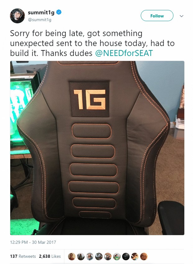 summit1g's tweet about Gaming chair needforseat