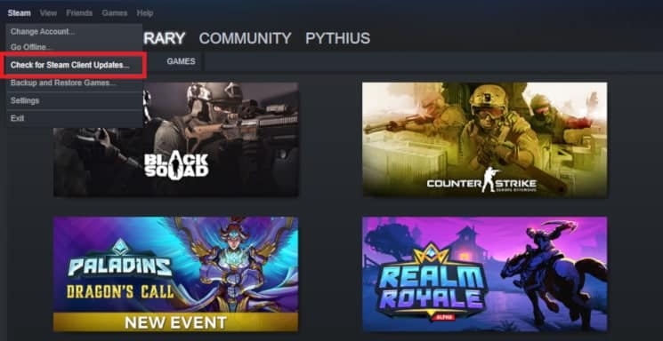 Check that Steam is updated by heading over to Steam Check for Steam Client Updates 1