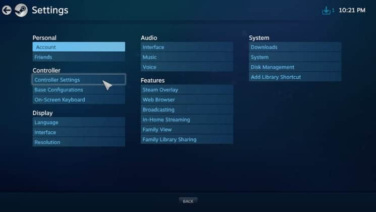 Click Controller Settings under the Controller sub section 1
