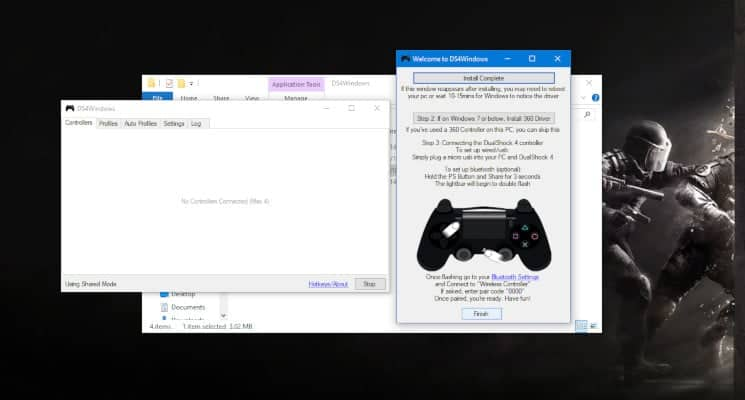Click Finish once the installation is complete and connect your PS4 controller to your PC via a micro USB cable 1