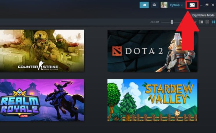 Click on the square icon beside your Steam username as shown in the image below to enter Big Picture mode 1