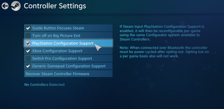 Tick the PlayStation Configuration Support 1