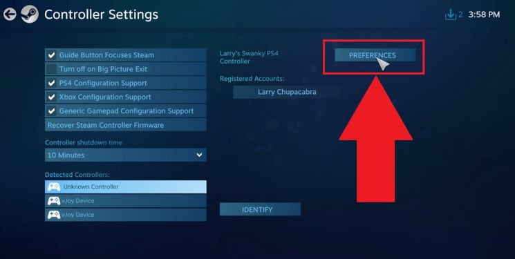 while under Controller Settings click the PREFERENCES button 1