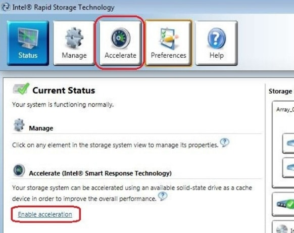 Click the Enable acceleration under the Status or Accelerate menu