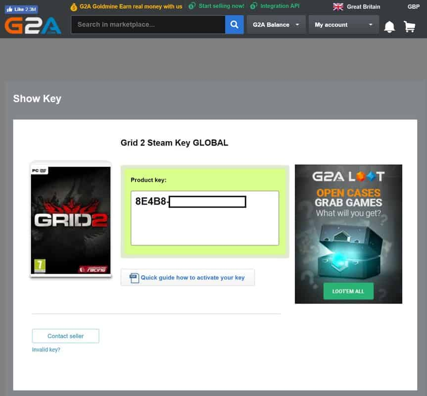 G2a getting your game key