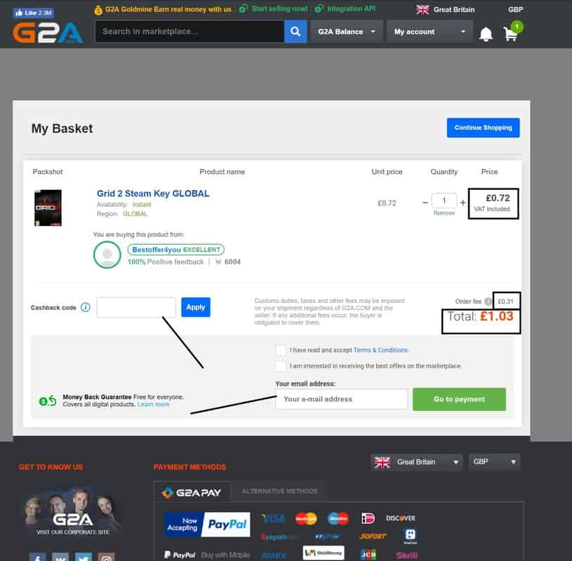 G2a shopping cart