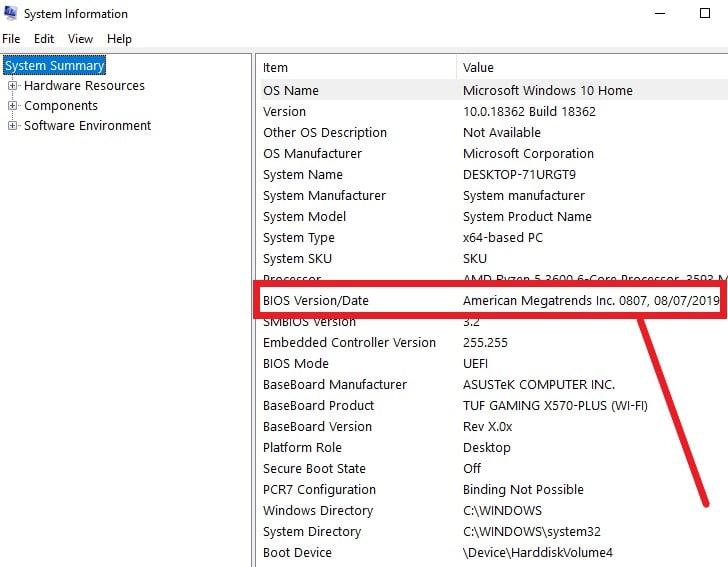 TUF GAMING system information screenshot