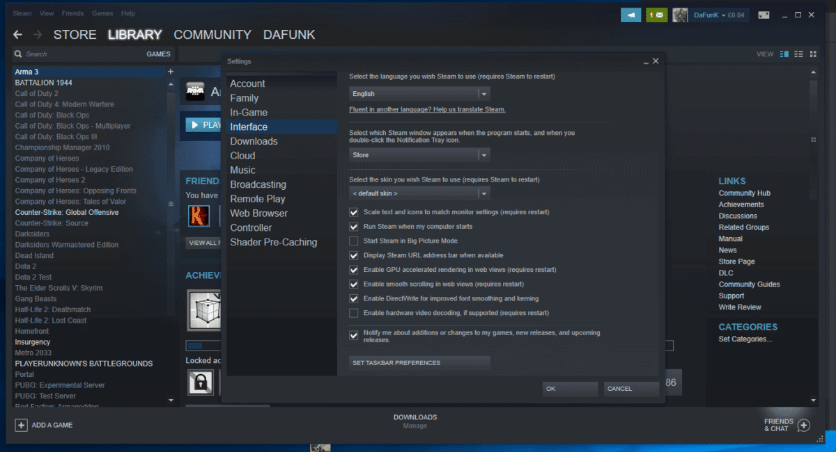 steam interface