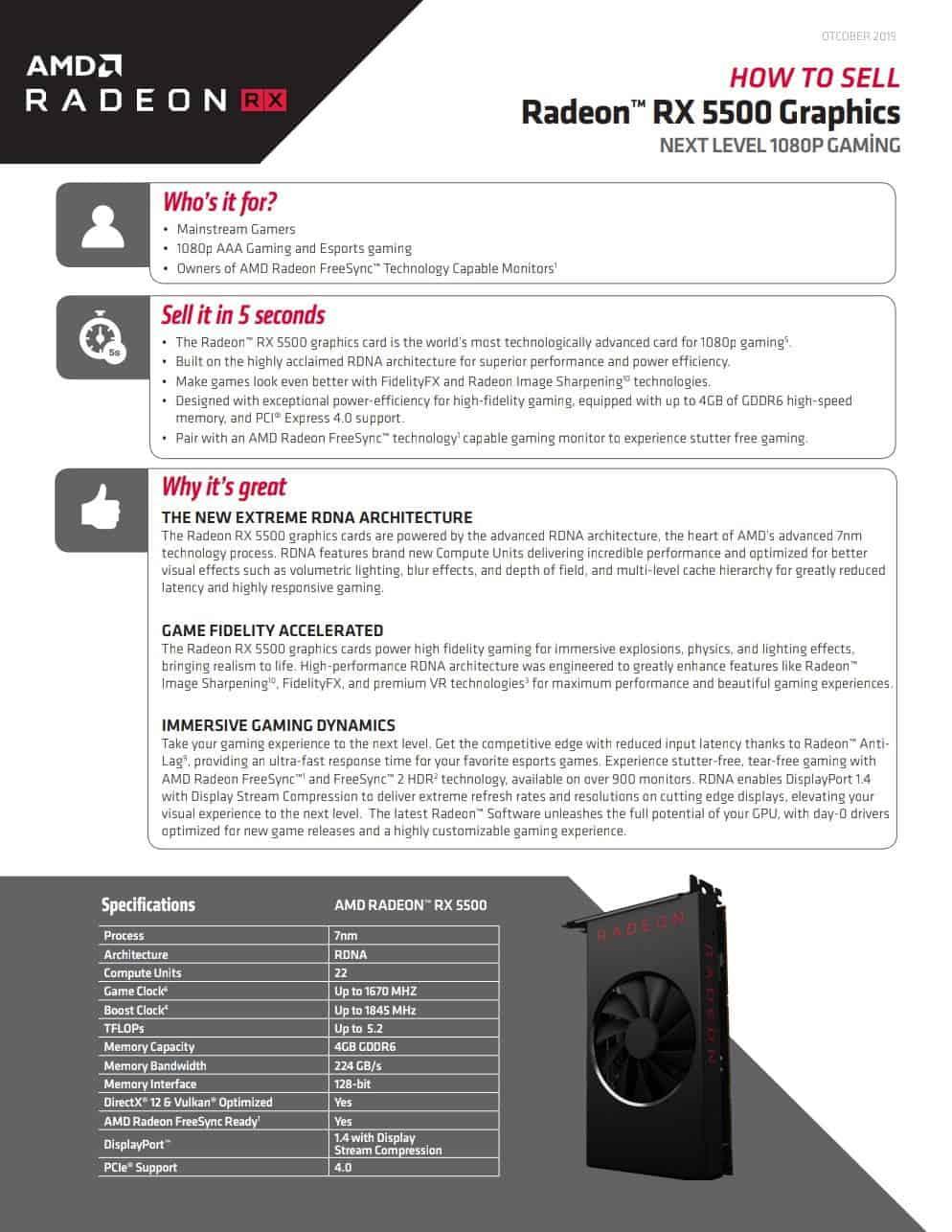 AMD Radeon RX 5500 GPU Specs
