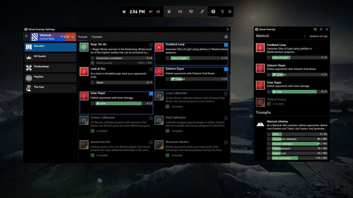Game Bar Destiny 2 Widget