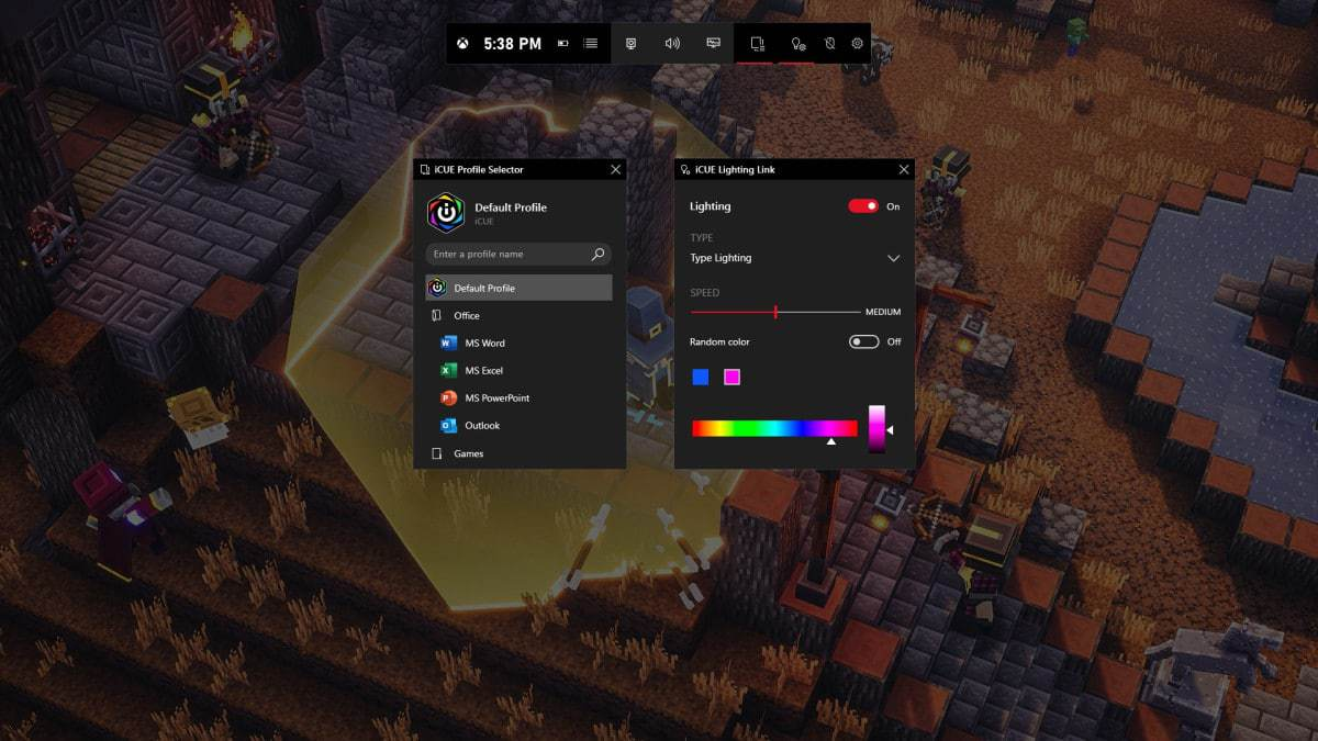 Game Bar iCUE Widget