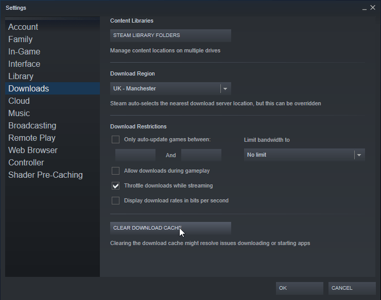 steam clear cahce