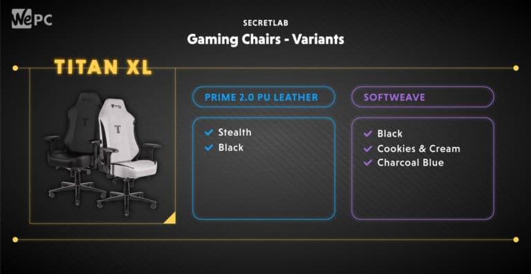 Secretlab Gaming Chairs Variants Titan XL