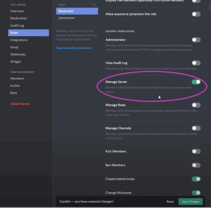 Discord Manage Server 1