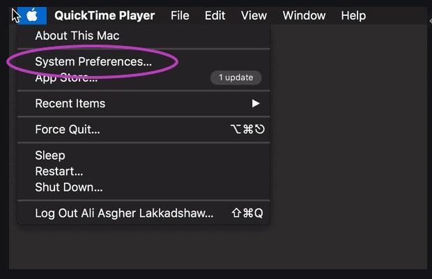 Mac system preferences DARK A