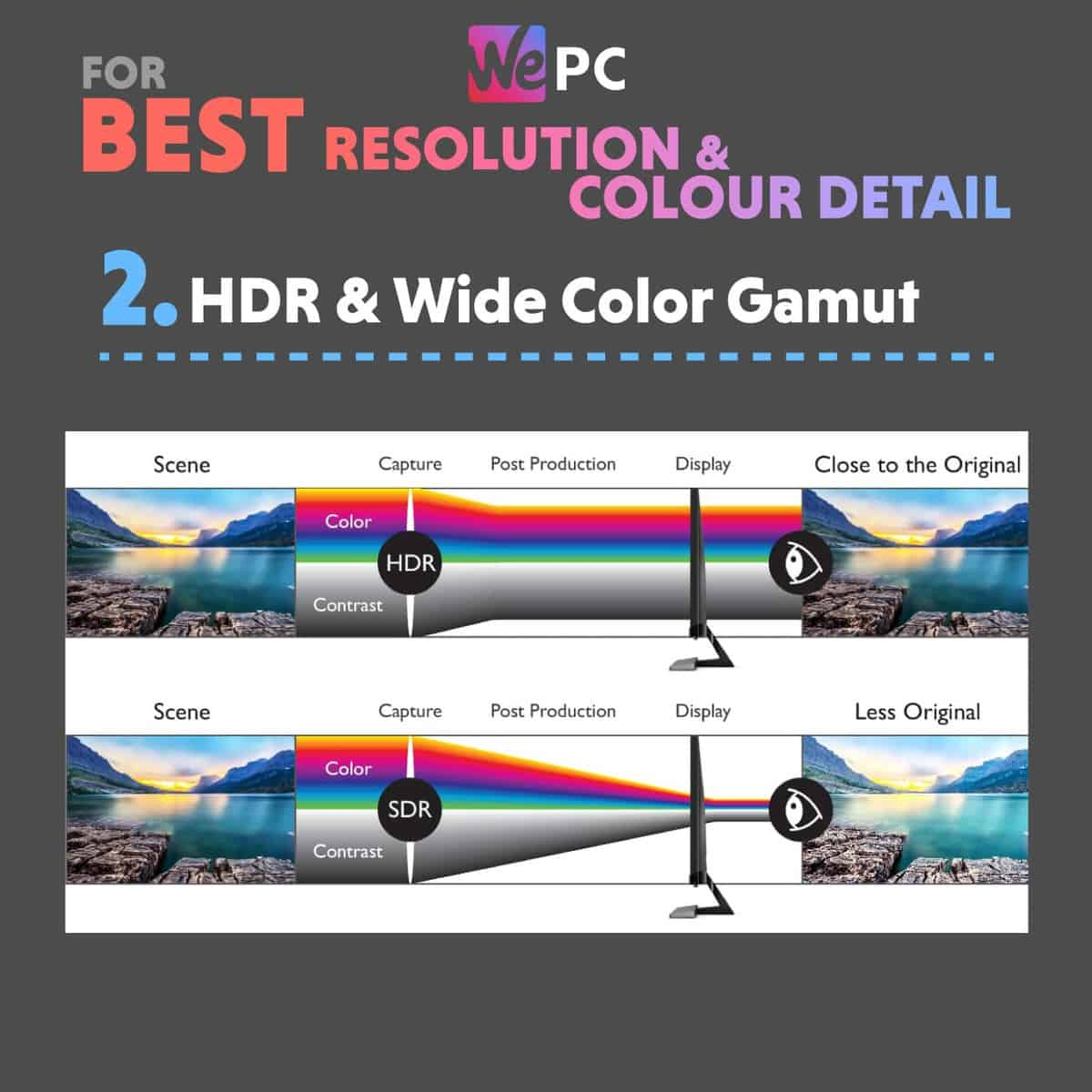 Monitor Key Features for Best Resolution and Color Detail HDR and Wide Color Gamut