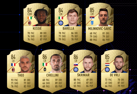 Fifa 22 seria A player ratings