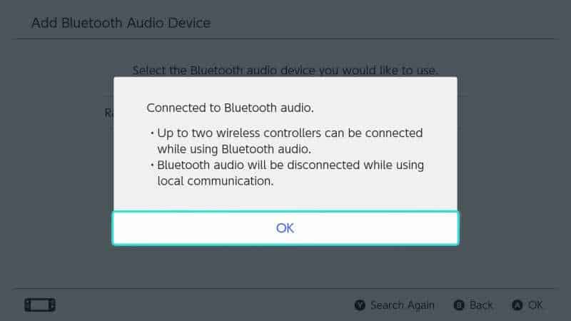 nintendo switch bluetooth connected