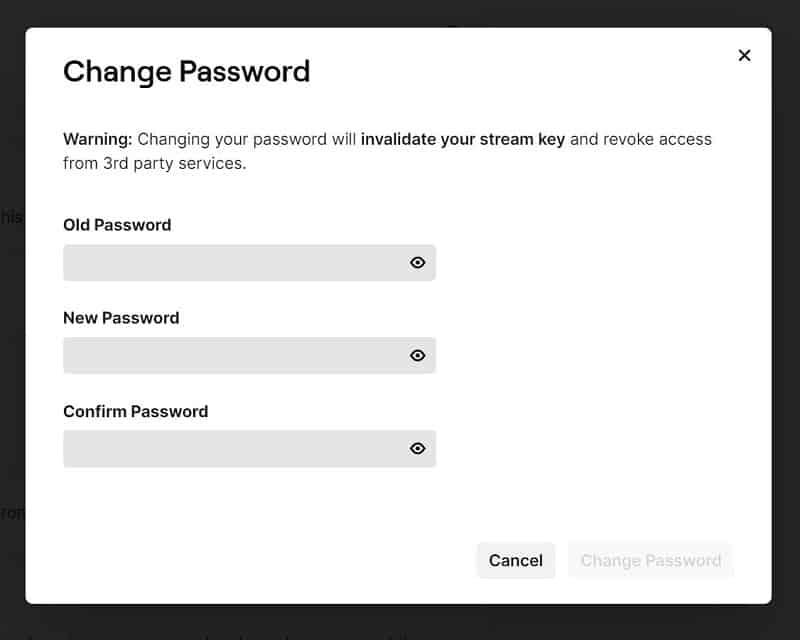 Twitch change password old password new password