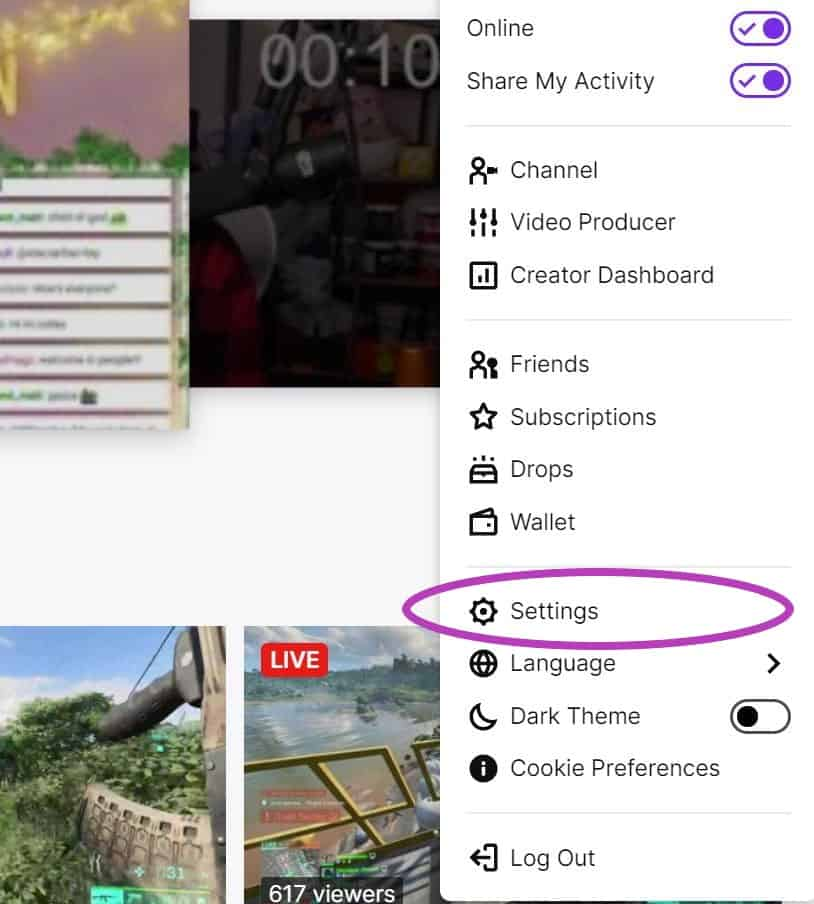 Twitch click settings 1